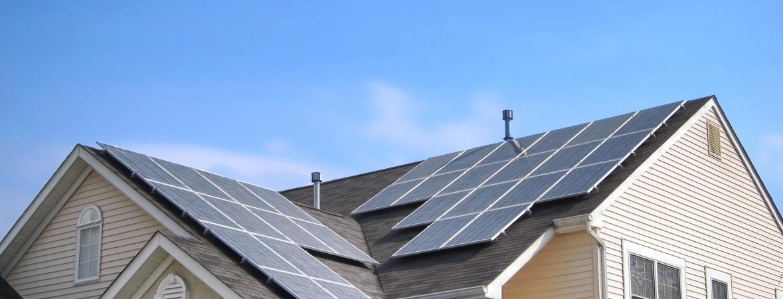 solar panels on a suburban home