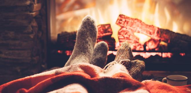cozy during winter - lounging in front of fireplace