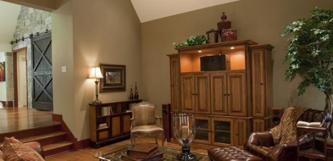 living room with entertainment center