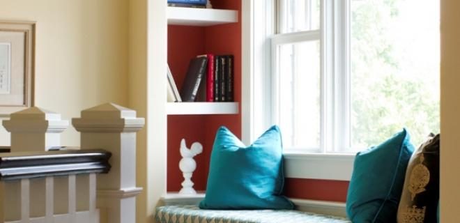 bay window and reading nook with cube storage in wall and in bench