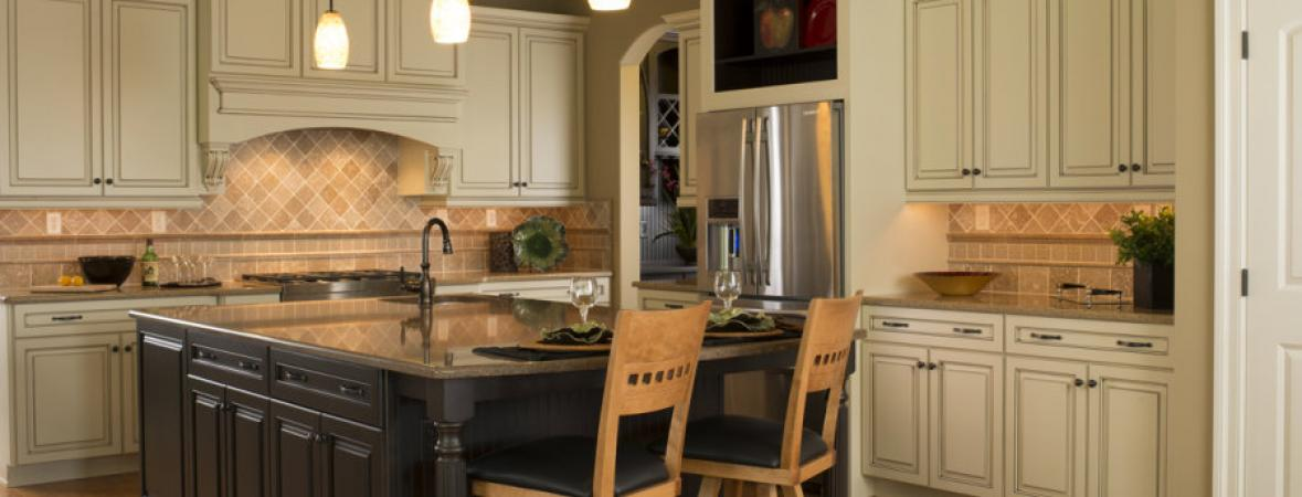 kitchen with island and dining bar