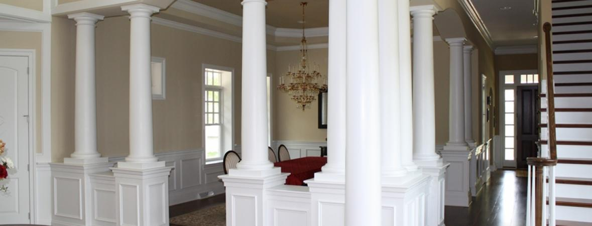 Columns Around A Living Room