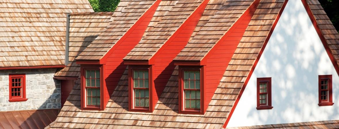 roofing with red accents on windows