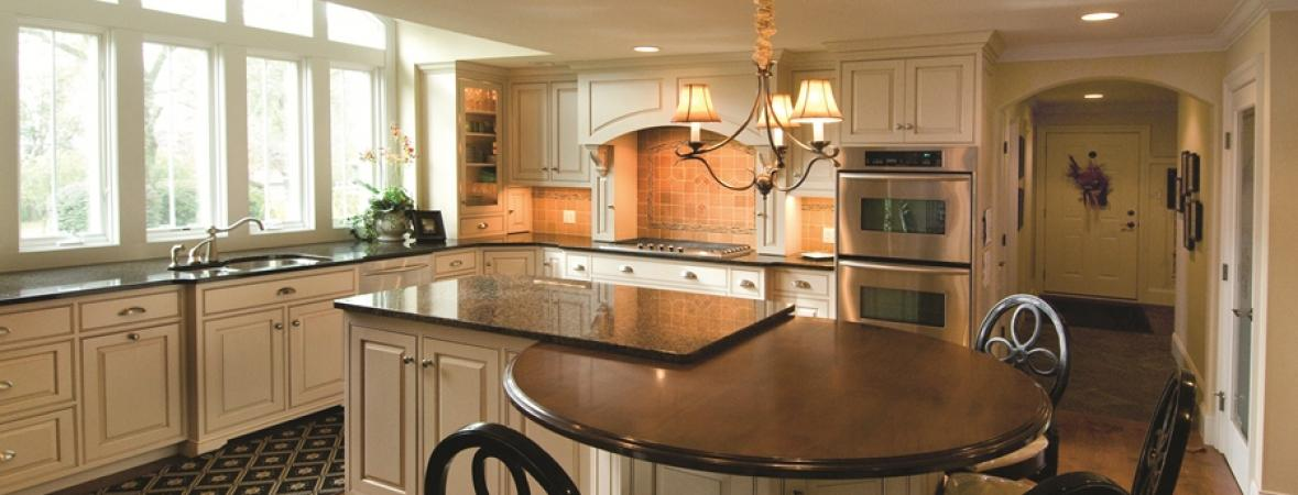 kitchen with island and attached dining area