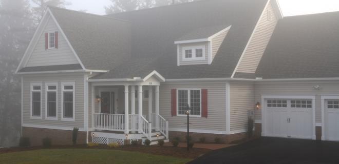 custom home in the fog