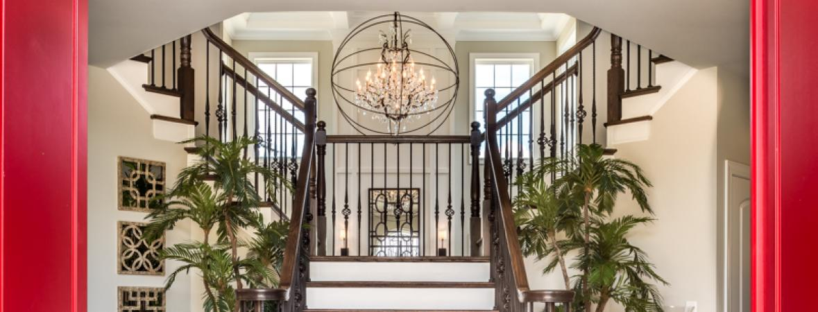 entryway with split staircase