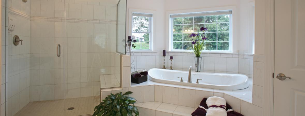bathroom with walk-in shower and jacuzzi tub