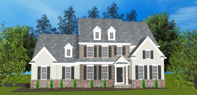 rendering of greenfield model home