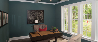 home office with recessed lighting