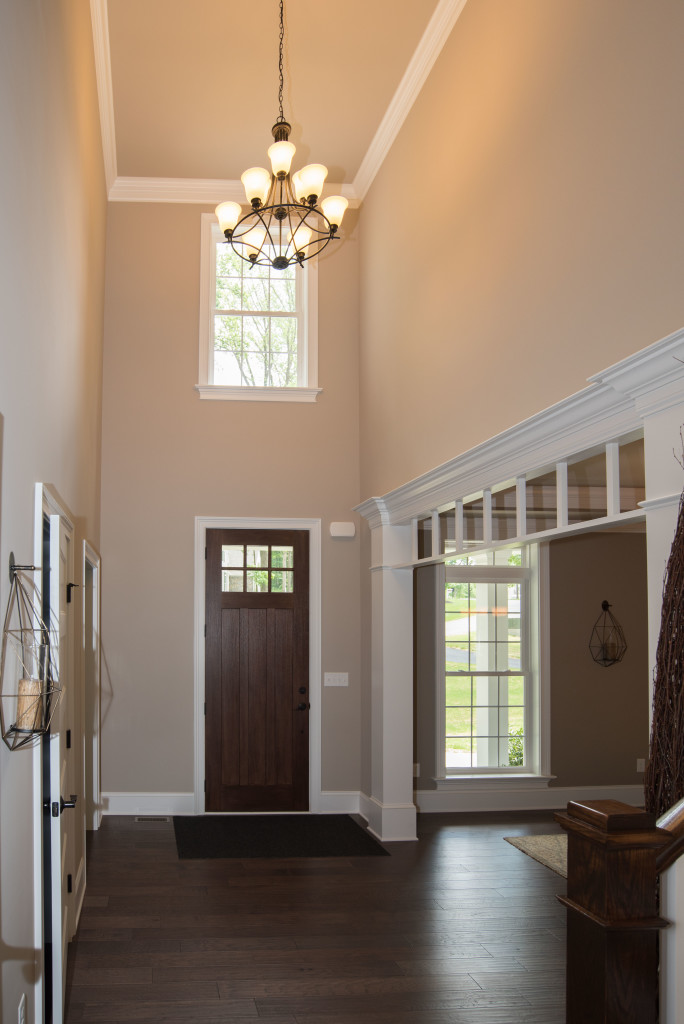 foyer with chandelier