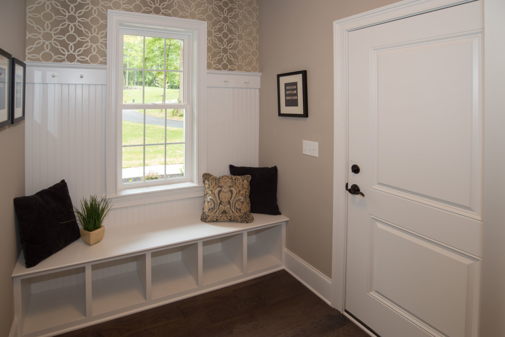 mudroom with built-in storage bench