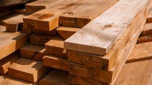 lumber market - stacks of cut lumber