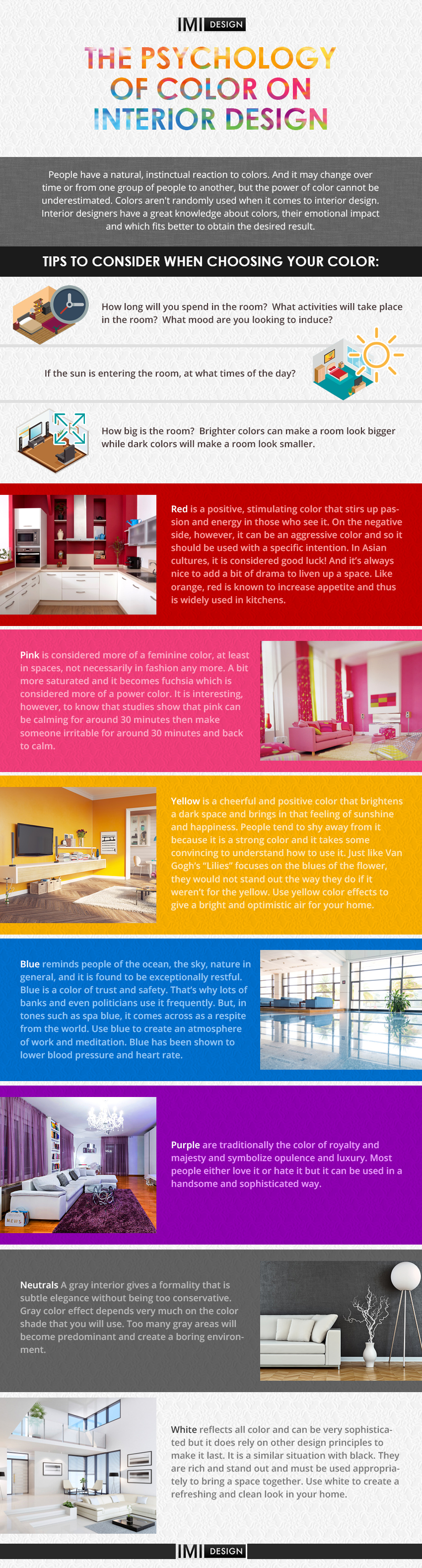 The Psychology of Color on Interior Design Infographic