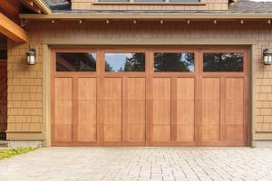 energy efficient garage - brown garage door with windows