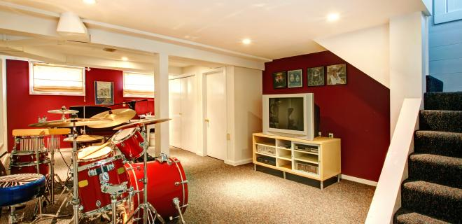 finished basement - music room