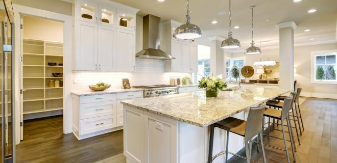 modern kitchen with island and walk in pantry