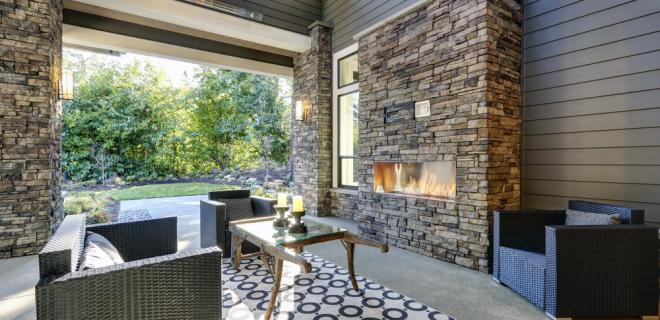fireplace pros and cons - indoor patio with fireplace