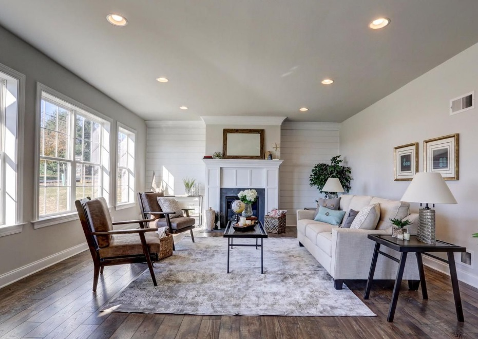 living room with recessed lighting