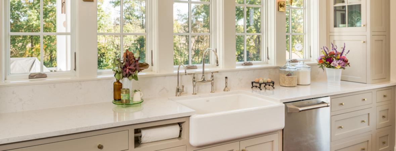 farmhouse kitchen - farmhouse-style sink in white and beige kitchen