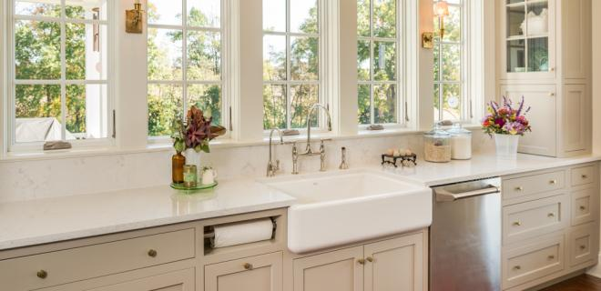 farmhouse kitchen - farmhouse-style sink in white and beige kitchen