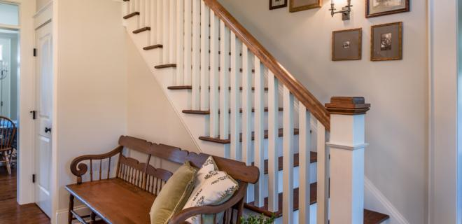 farmhouse foyer and stairs to second floor