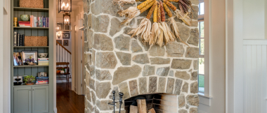 interior stone veneer on fireplace