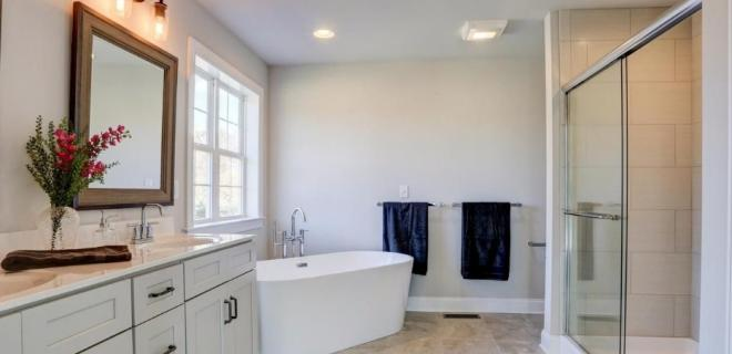 master bathroom with separate tub and walk-in shower