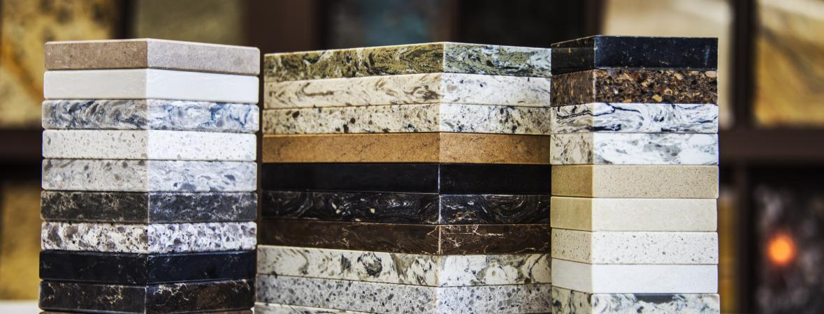 countertop materials - stacks of countertop samples