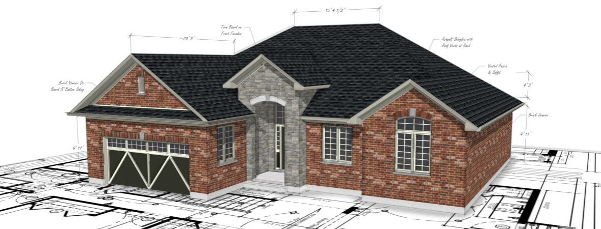 custom home rendering on top of floor plans