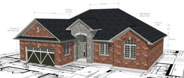 custom home rendering on top of floor plans