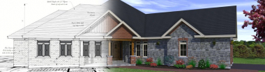 custom home plans fade into rendering