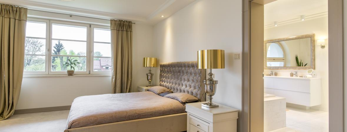 stylish in-law suite bedroom and bathroom