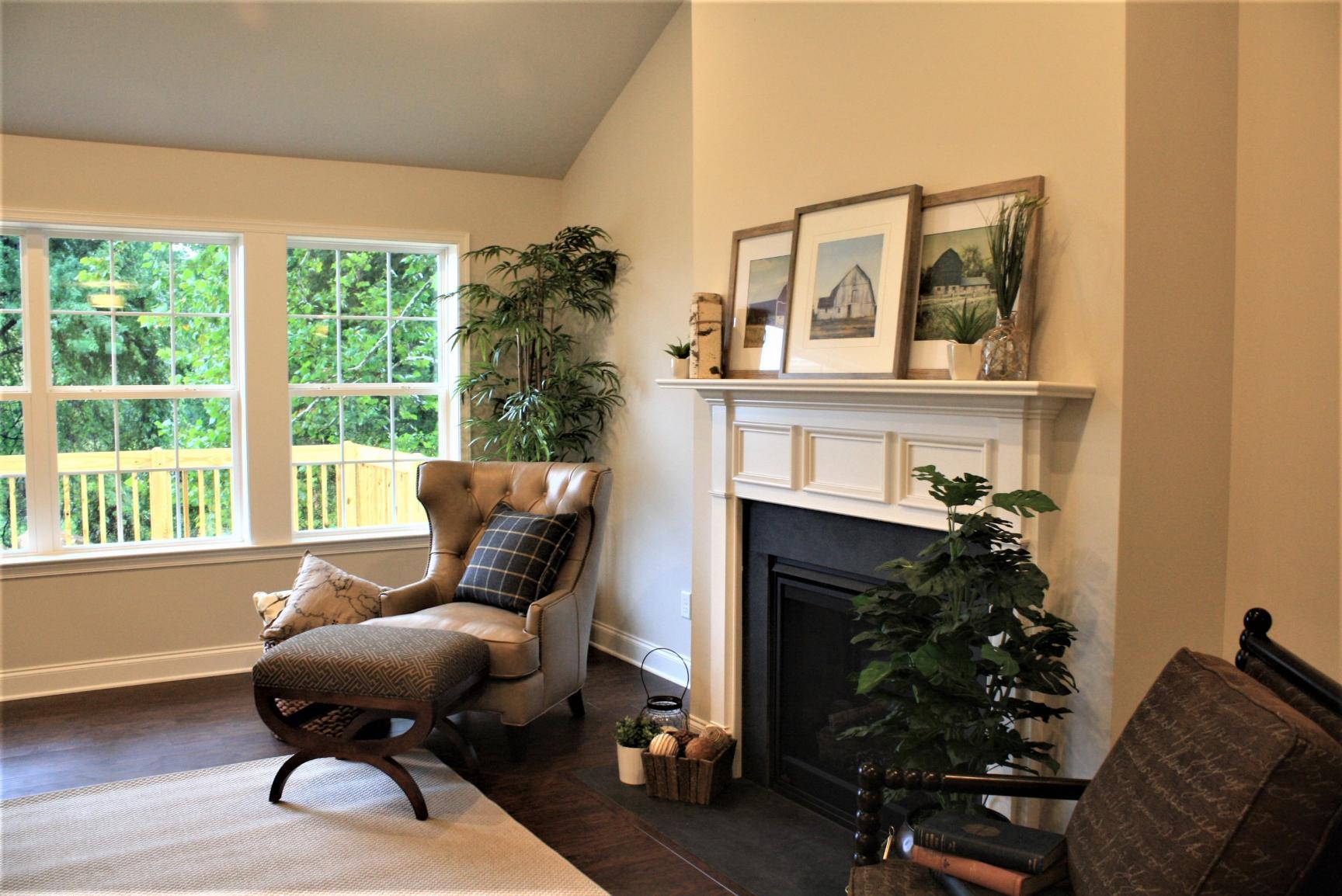 nice design rhythm around fireplace
