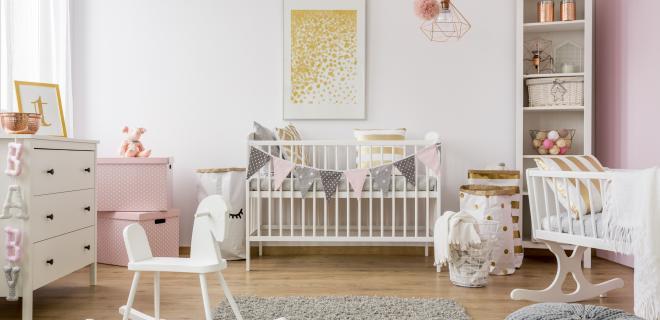 nursery with crib and rocking chair