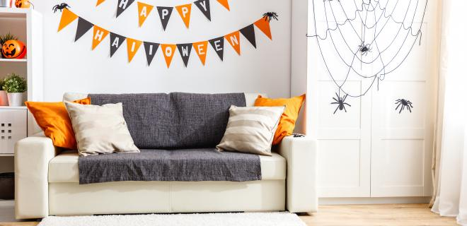 interior of a home decorated for halloween