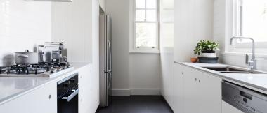 monochrome galley kitchen