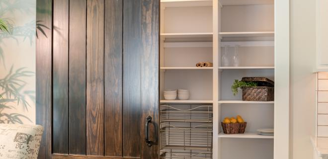 walk-in pantry with sliding barn door