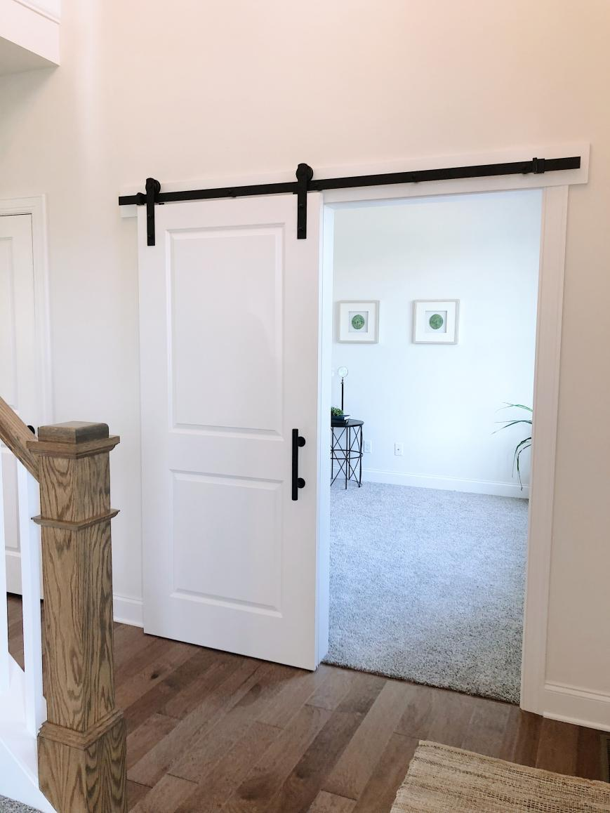barn door in foyer