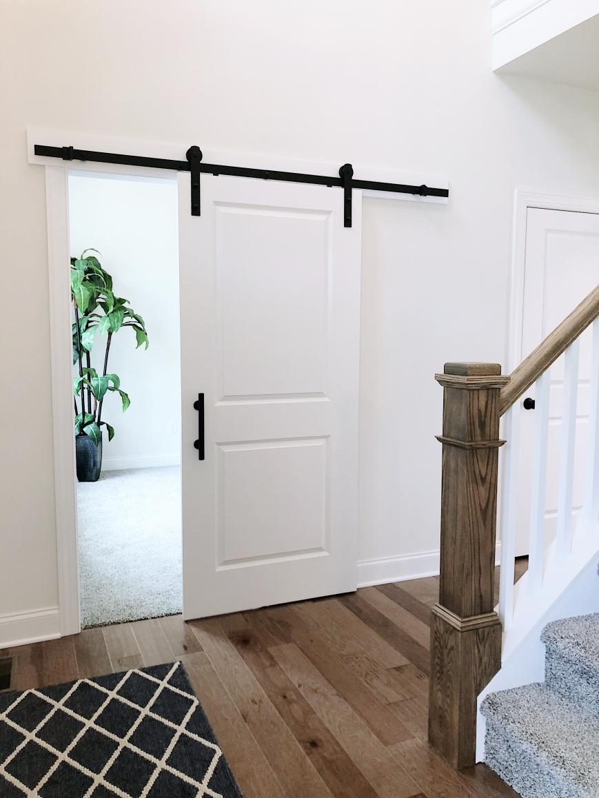 foyer with sliding barn door