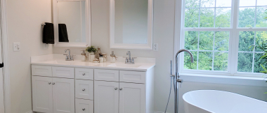 double vanity and tub in master bath