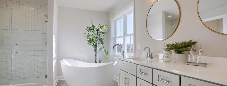 master bath with dual vanity