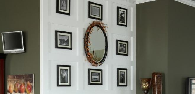 gallery wall above a fireplace