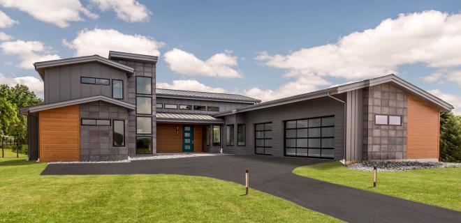 exterior of modern custom home
