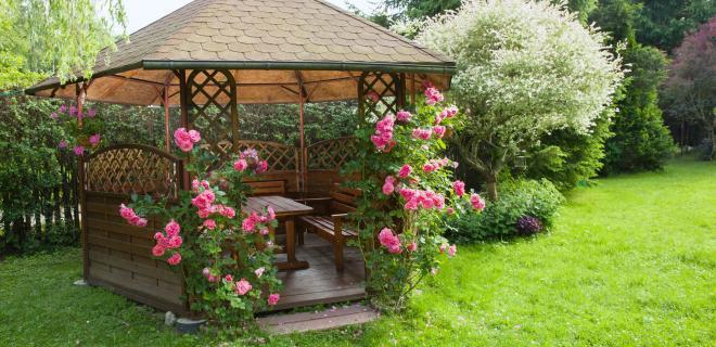 gazebo with pink roses